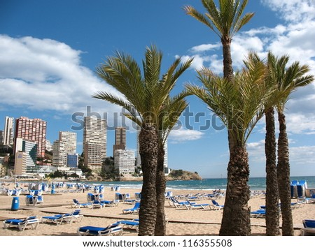 the beach at benidorm in spain - stock photo