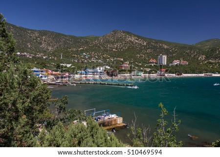 The beach at the sea bay. The coast of the peninsula of Crimea.
