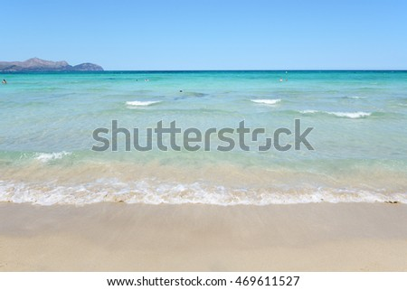 The beach in Alcudia region, Mallorca, Spain