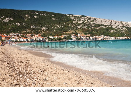 the beach in Baska - Croatia - stock photo