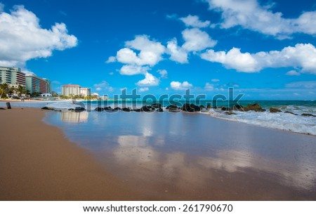 The beach in Condado in San Juan, Puerto Rico, United States. - stock photo
