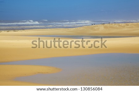 The beach near Bushman's River Mouth, in an area known as the Sunshine Coast, in South Africa. - stock photo