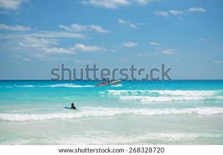 The beach of Caribbean sea in Cancun Mexico - stock photo