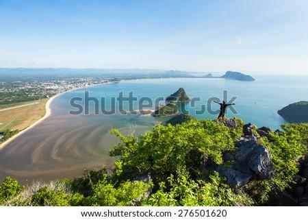 The beach of Prachuap Khiri Khan, Ao Manao Bay, Unseen Thailand - stock photo