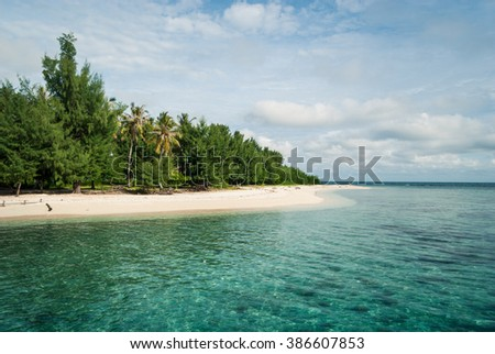 The beach of Pulau Cendekian in the afternoon. Karimunjawa, Indonesia.
