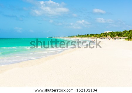 The beach of Varadero in Cuba on a beautiful summer day - stock photo
