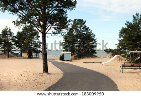 The beach of Yyteri in Finland, often visited by kitesurfers - stock photo