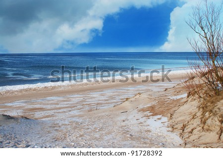 The beach on the Baltic Sea in the winter - stock photo