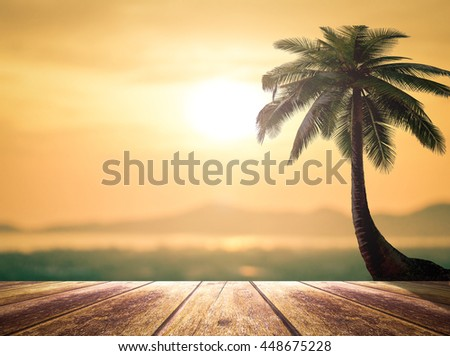 The beach. Vintage Style Wooden Paving Break Terrace Relax View Sun Sand Light Water Wave Sea Hot Surf Dream Rest Peace Enjoy Earth Fresh Nature Resort Booking Border Island Path Sunny Front concept. - stock photo