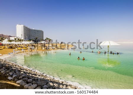 The beaches at the dead sea in Israel