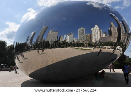 The Bean of Chicago Chicago,Illinois,USA- August 16,2013: The Cloud Gate,nicknamed the Bean, in the Millennium Park - stock photo