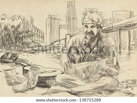 The bearded hippie man playing the guitar - sitting on the beach U.S. Gulf. /// A hand drawn illustration - full sized (original). - stock photo