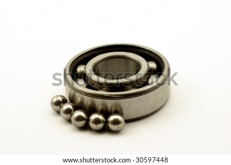 The bearing and spheres, is photographed on a white background