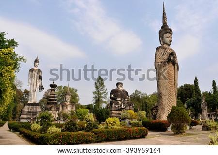 The beautiful and bizarre Buddha Park in Nong Khai, Thailand. - stock photo