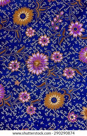 The beautiful and colorful of art Malaysian and Indonesian Batik Pattern - stock photo