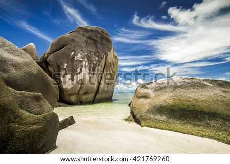 The beautiful Anse Source D'Argent beach in La Digue Island, Seychelles - stock photo