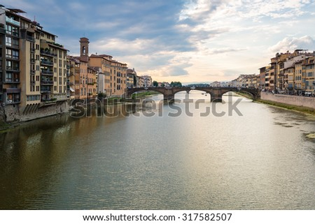 The beautiful architecture along the Arno river in Florence, Italy