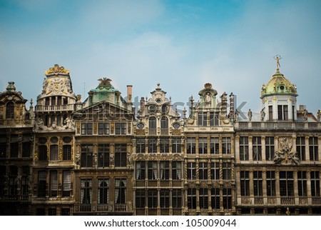 The beautiful architecture of the Grand-Place in Brussels, Belgium - stock photo