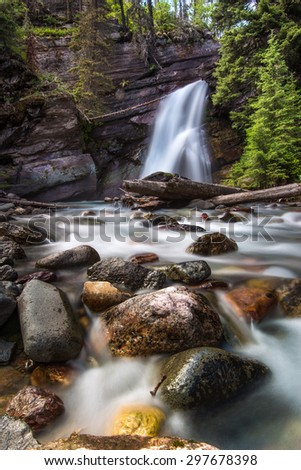 The beautiful Baring Falls in Glacier National Park, Montana.