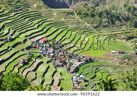 The beautiful Batad Rice Terraces in Ifugao, Northern Luzon, Philippines. - stock photo