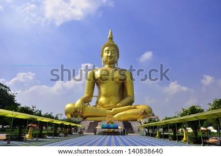 The beautiful Big Buddha at Wat Muang Temple Angthong Thailand - stock photo