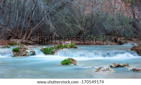THe beautiful blue waters of Havasu Creek, Grand Canyon, Arizona - stock photo