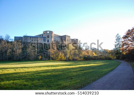 The beautiful Borgholm Castle in Sweden surrounded of fall season colors