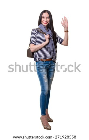 The beautiful brunette on a white background - stock photo