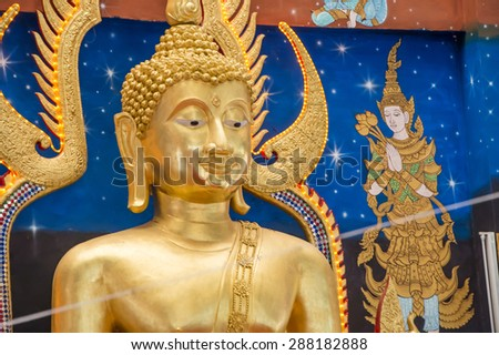 the beautiful Buddha statue at Wat Monmahinsiraram, Lamphun, Thailand - stock photo