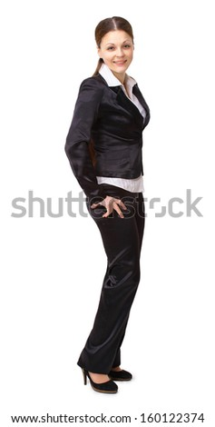 The beautiful business woman stands on a white background - stock photo