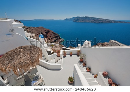 The beautiful caldera view from Oia terrace at Santorini, Greece