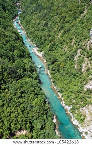 The beautiful canyon of Tara, the second deepest canyon in the world in Montenegro - stock photo