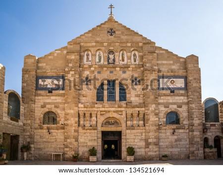 The beautiful Church of St John the Baptist in the historic town of Madaba in Jordan - stock photo