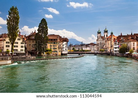 The beautiful city in Switzerland - Lucerne - stock photo