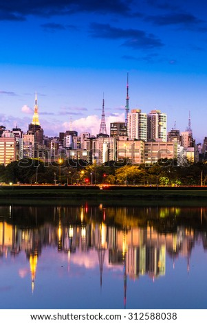The beautiful city of Sao Paulo at night in Brazil - stock photo