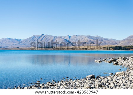 The beautiful clearly lake Takapo in New Zealand