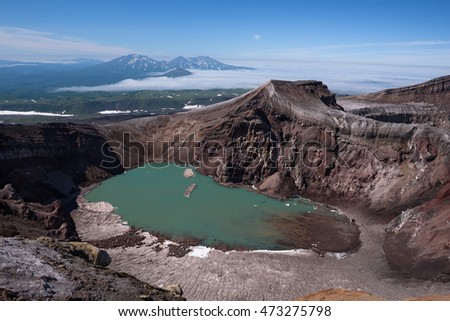 The beautiful crater lake in Gorely Volcanoâ??s crater, Kamchatka, Russia