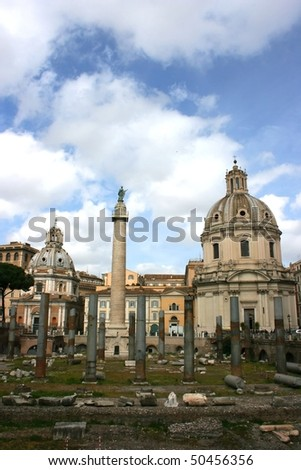 The beautiful domes of the 16th century churches S. Maria di Loreto and S. Maria di Loreto in Venezia Square, Rome, Italy