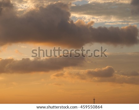 The beautiful dusk sky in the sunset of the summer sunny day
