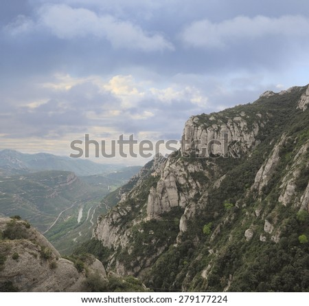 The Beautiful Eroded Mountains at Montserrat Monastery - stock photo