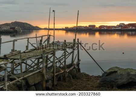 The beautiful fishing village of Reine, Lofoten Islands, Norway - stock photo