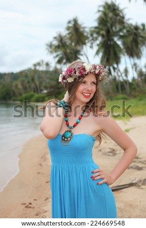 The beautiful girl at the sea.  - stock photo