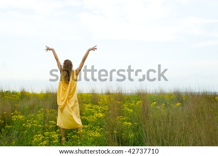 The beautiful girl in a dress on background of field