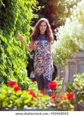 Beautiful Girl Dress Walks Garden Among Stock Photo (Safe to Use ...