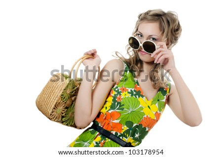 The beautiful girl in summer dress isolated