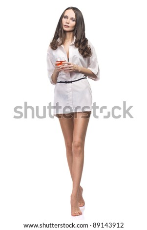 The beautiful girl in white with a red wine glass