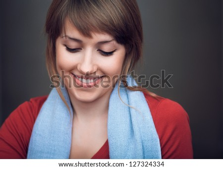 the beautiful girl is happy and smiling - stock photo