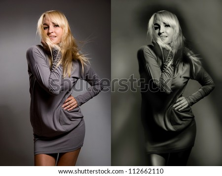 The beautiful girl on a gray background. Two options - original and tinted - stock photo