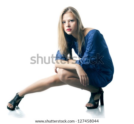 The beautiful girl on a white background. - stock photo