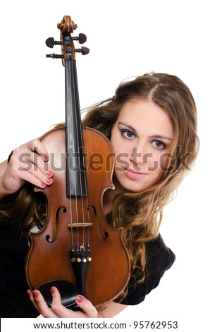 The beautiful girl with a violin isolated